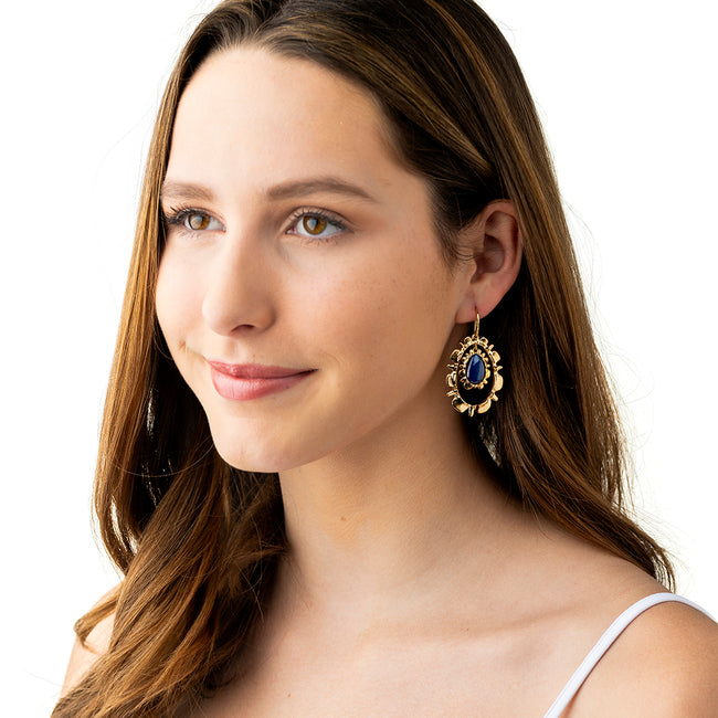 Bliss Ruffle Drop Earrings, Floating Midnight Blue