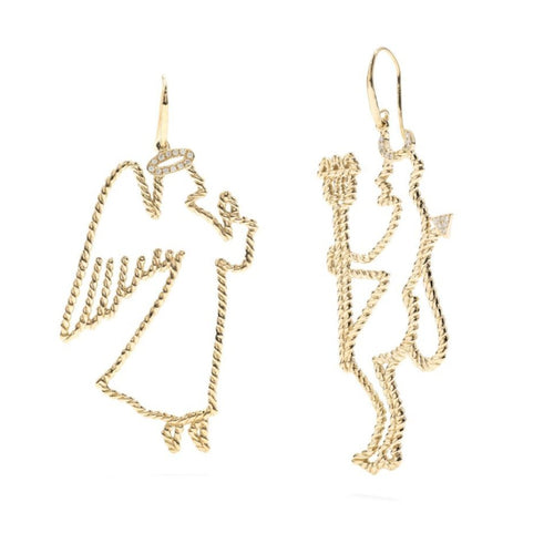 Angel & Devil Earrings in Gold