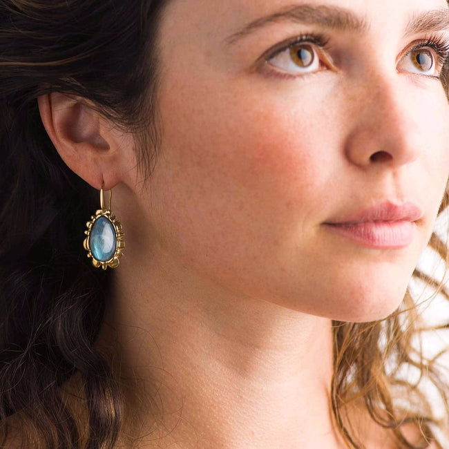 Bliss Drop Earrings in Blue Labradorite