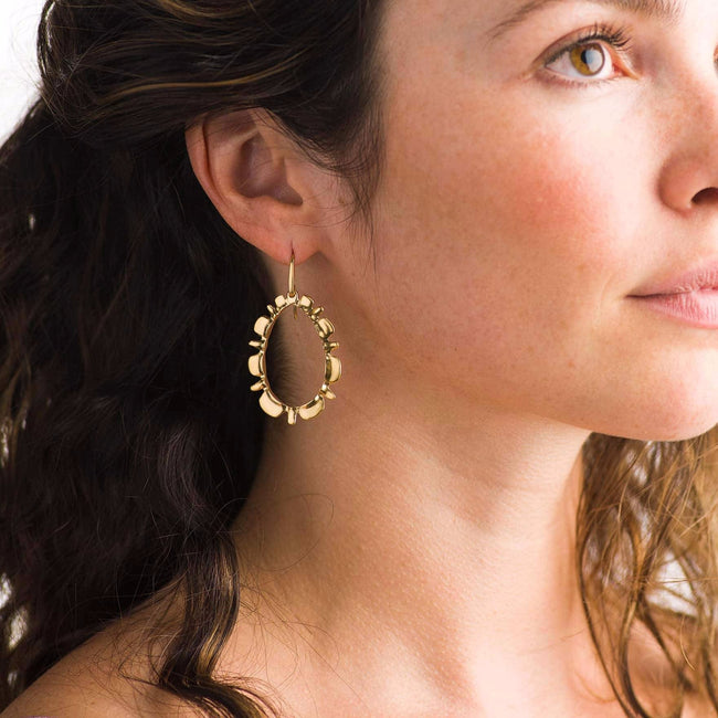 Ruffle Drop Earrings in Gold