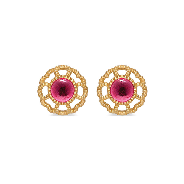 Capucine Blossom Stud Earrings with Cabochon Ruby