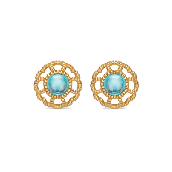Capucine Blossom Stud Earrings with London Blue Topaz
