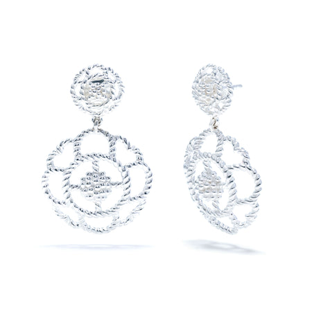 Ruffle Urchin Earrings in Silver