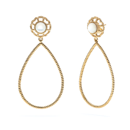 Capucine Tear Drop Earrings in Gold with Mother of Pearl