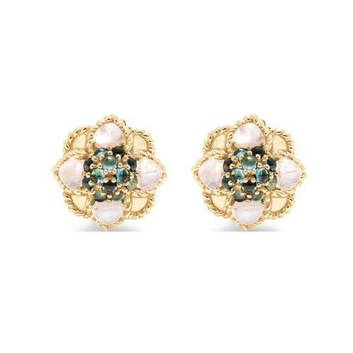 Daisy Rock Stud Earrings with London Blue Topaz & Moonstone