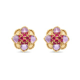 Daisy Rock Stud Earrings with Ruby & Amethyst