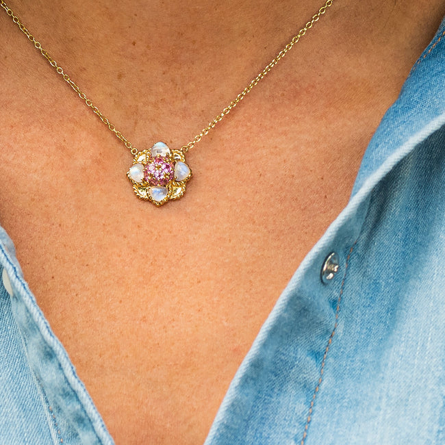 Daisy Rock Pendant with Pink Sapphire & Moonstone