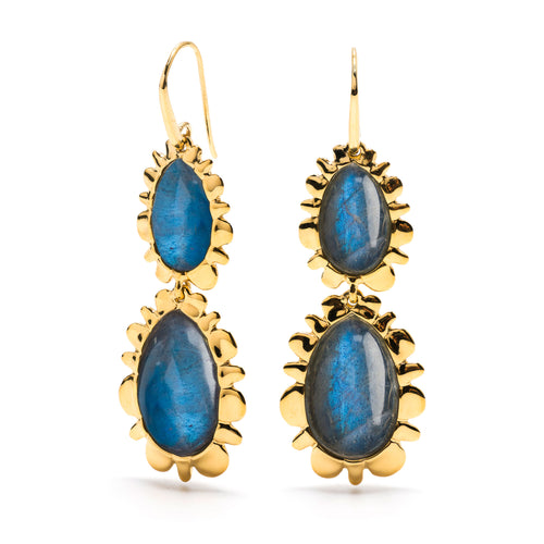 Double Bliss Drop Earrings in Blue Labradorite