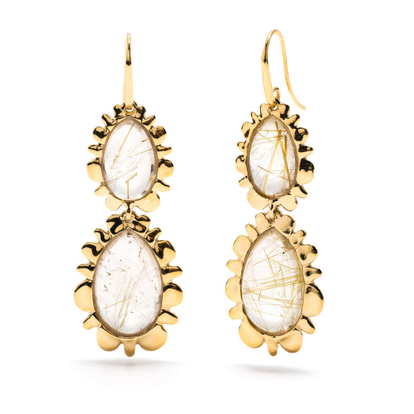 Double Bliss Drop Earrings in Rutilated Quartz