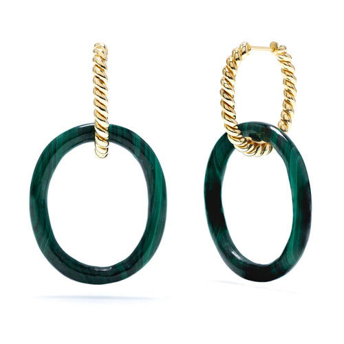 Earth Goddess Malachite Link Earrings