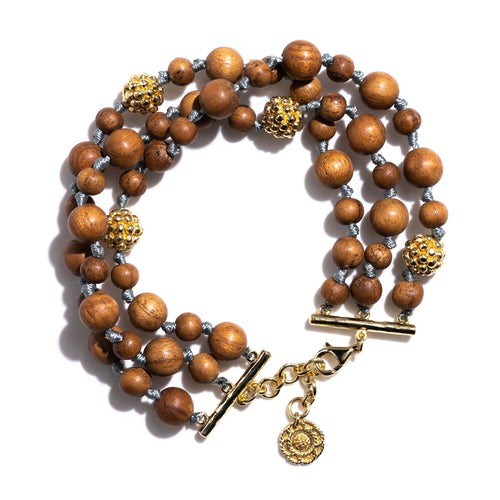 Earth Goddess Teak Bead Bracelet
