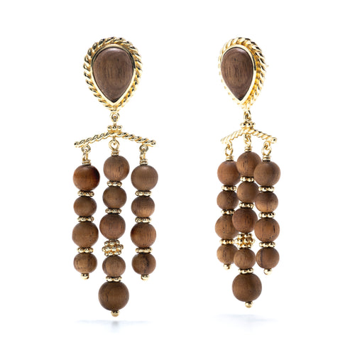 Earth Goddess Teak Chandelier Earrings