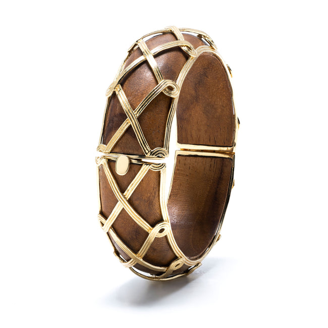 Earth Goddess Teak & Gold Hinged Bangle