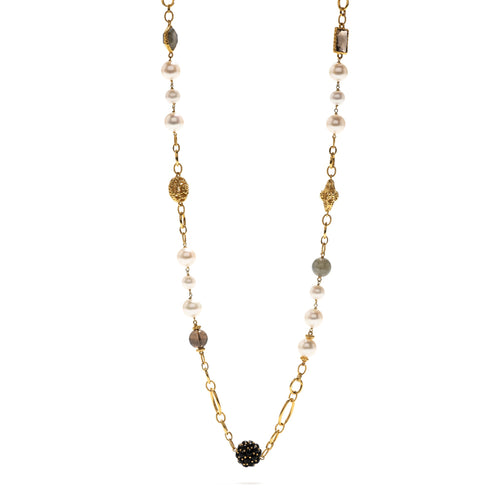 Garden Bouquet Pearl Earth Necklace 31""