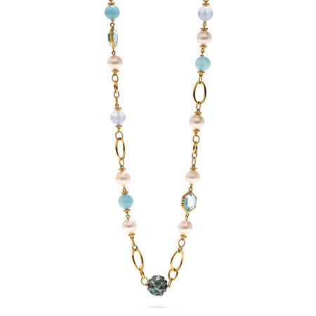 Maiden's Aqua Jade Bead Necklace