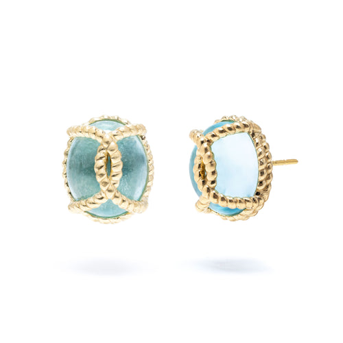 Golden Lasso Stud Earrings with Blue Topaz