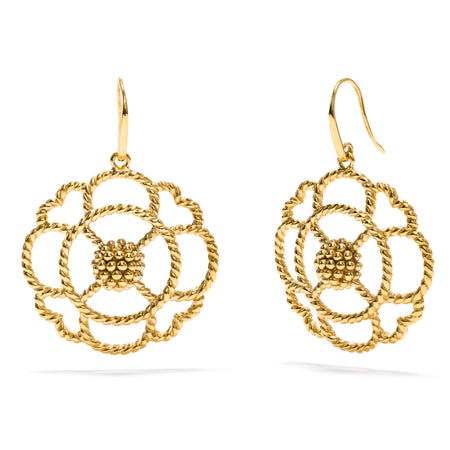 Daisy Drop Earrings with Ruby
