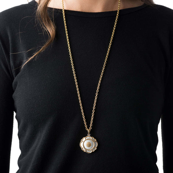 Capucine Grande Solid Pendant Necklace, Gold/Silver