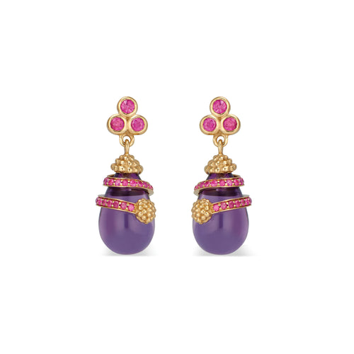 Lily Drop Earrings with Ruby & Amethyst
