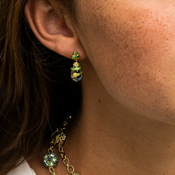 Lily Drop Earrings with Tsavorite & Blue Topaz
