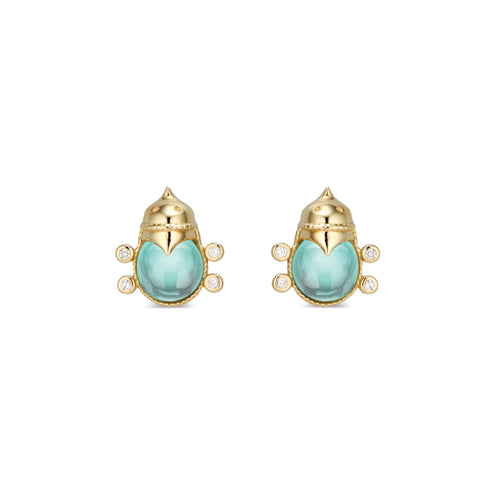 Lovebug Stud Earrings with Diamond & Blue Topaz