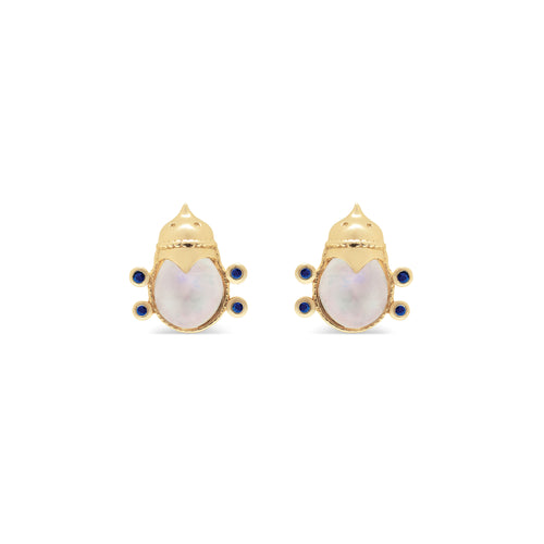 Lovebug Stud Earrings with Rainbow Moonstone & Blue Sapphire