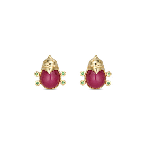 Lovebug Stud Earrings with Ruby & Tsavorite