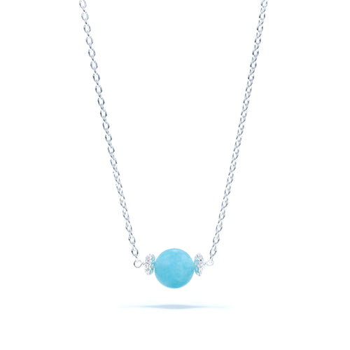 Maiden's Aqua Jade Bead Necklace in Silver