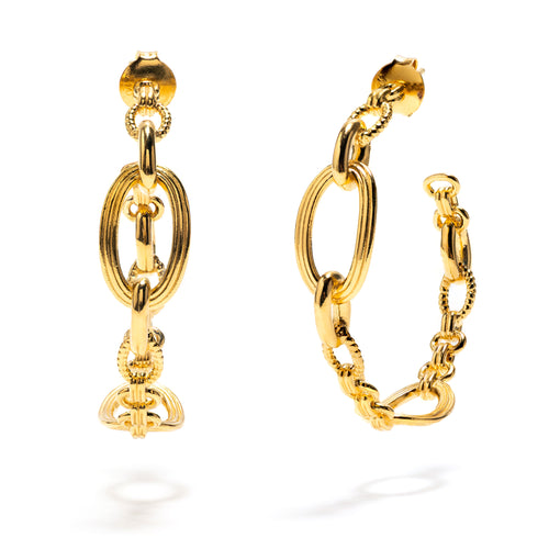 Monique Chain Hoop Earrings in Gold