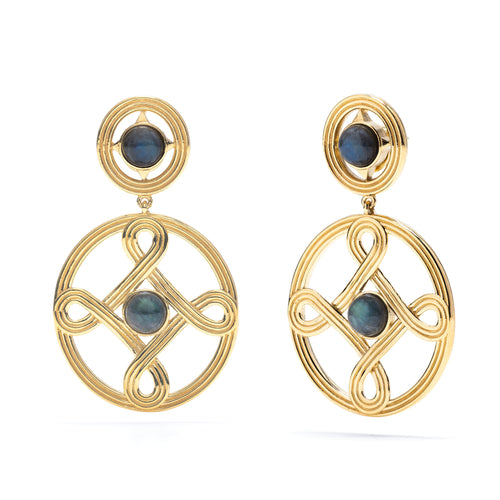 Monique Double Earrings in Gold with Grey Labradorite