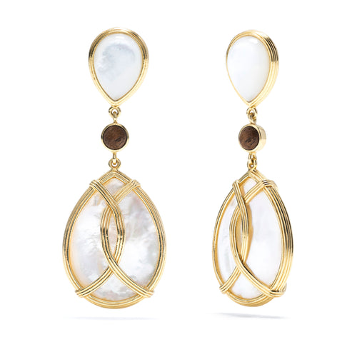Monique Mother of Pearl & Teak Tear Drop Earrings