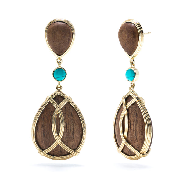 Monique Teak & Turquoise Tear Drop Earrings
