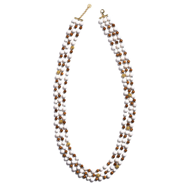 Ocean Goddess Coral & Teak  Bead Necklace 34""