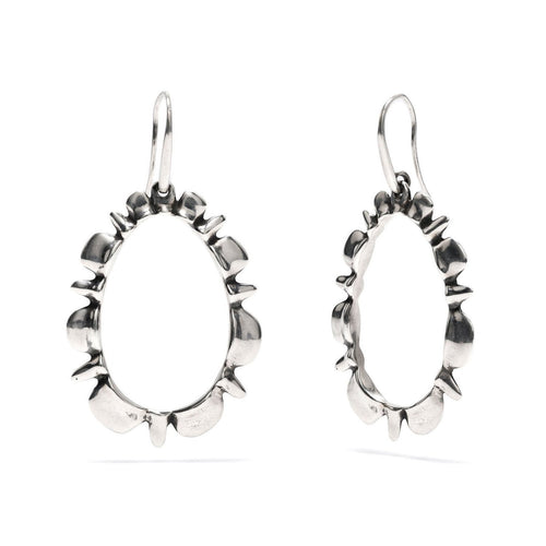 Ruffle Drop Earrings in Silver