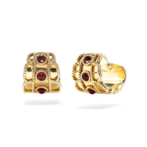Victoria Huggie Earrings, Garnet