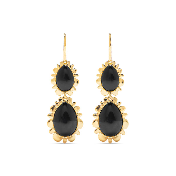 Double Bliss Drop Earrings, Onyx