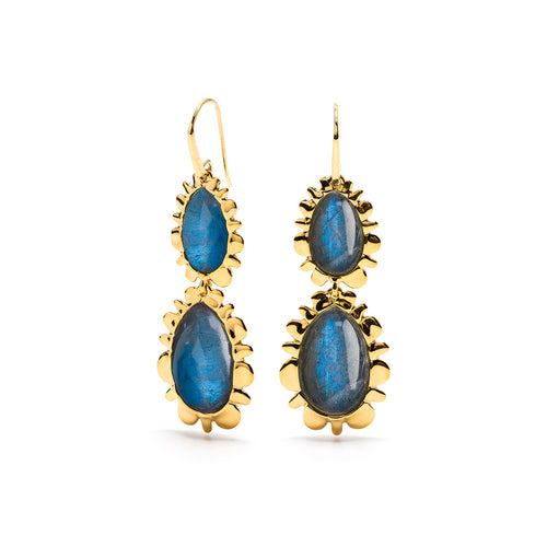 Double Bliss Drop Earrings, Midnight Blue