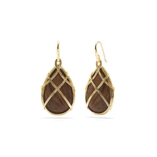 Earth Goddess Drop Earrings, Teak