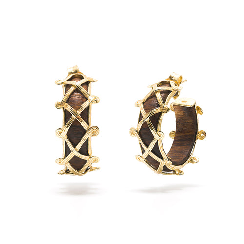 Earth Goddess Hoop Earrings, Teak