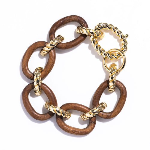 Earth Goddess Link Bracelet, Teak