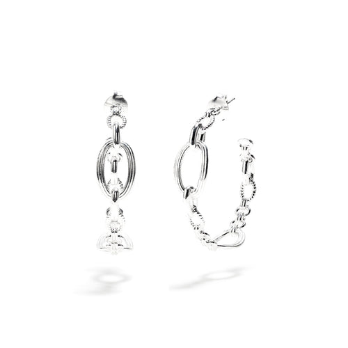 Monique Chain Hoop Earrings, Silver