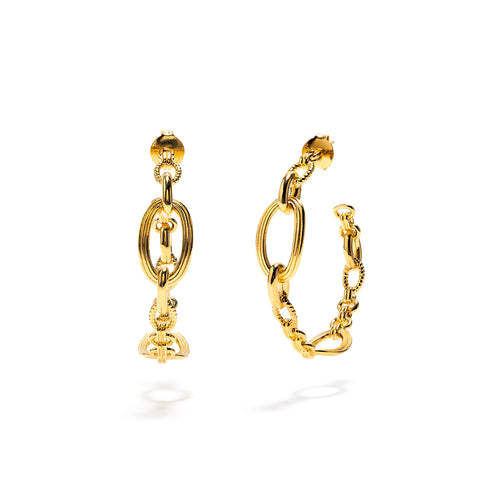 Monique Chain Hoop Earrings, Gold