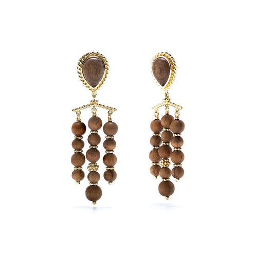 Earth Goddess Chandelier Earrings, Teak