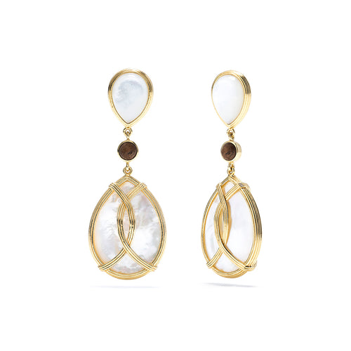 Monique Tear Drop Earrings, Mother of Pearl & Teak