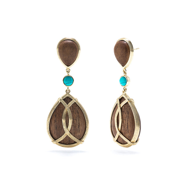 Monique Tear Drop Earrings, Teak & Turquoise