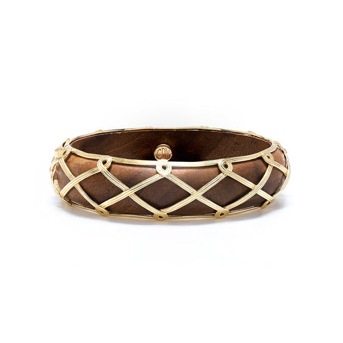 Earth Goddess Hinged Bangle, Teak