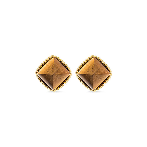 Blandine Clip Earrings, Teak