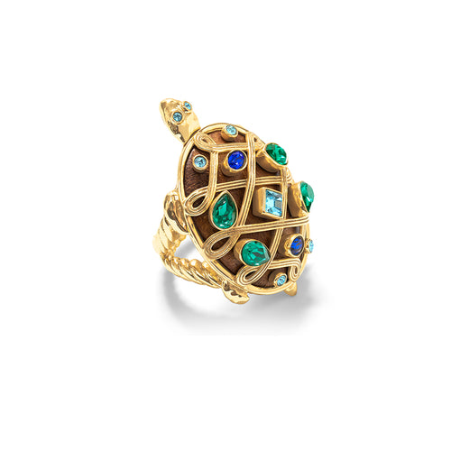 Turtle Ring, Jeweled, Size 7