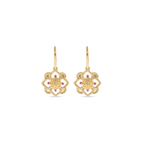 Daisy Drop Earrings, CZ Ruby