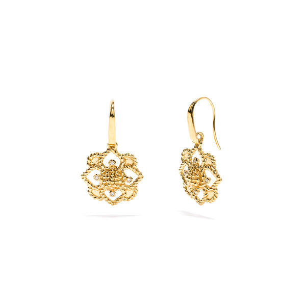 Daisy Drop Earrings, CZ Diamond